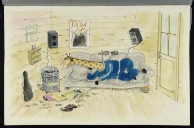 Dibujo original de Roser Capdevila para ilustrar el cuento: Historia musical de Palmira