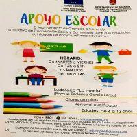 "Apoyo escolar gratis en ""Ludoteca La Huerta""- 2017"