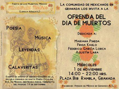 Ofrenda del Día de Muertos (solidaridad con México) @ Plaza Bib Rambla   Granada   Andalucía   España